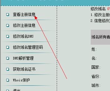 中国数据域名控制面板登录后界面